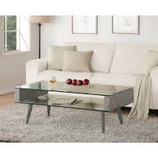 acme furniture boyd clear glass and gray coffee table 82300 the
