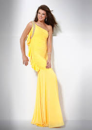 asym corset ruched beaded yellow one shoulder prom dress on sale