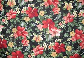 Floral Prints hawaiian fabric red floral print