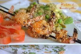 cuisine crevette brochettes de crevettes grillées aux sésames amour de cuisine
