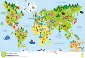 The World Map With Continents And Oceans by Funny Cartoon World Map Stock Vector Image 68259018