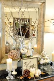 thanksgiving u0026 fall decorations entry console vignette with