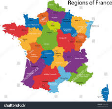 France Cities Map by Colorful France Map Regions Main Cities Stock Vector 33001708