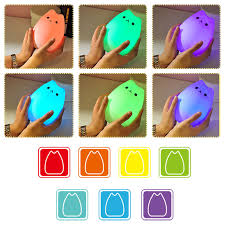 usb cat night light silicone cat night light colorful cute cartoon animal changeable led