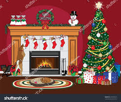 christmas scene christmas tree stockings fireplace stock vector