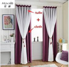 Purple Curtains Huayin Velvet Linen Curtains Tulle Window Curtain For Bedroom