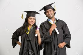 college graduation gown cheerful indian college graduates wearing cap and gown holding