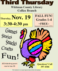 thanksgiving at the colfax library on thursday november 19
