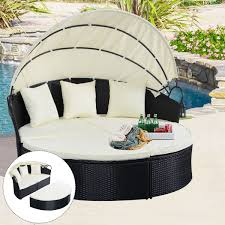 Outdoor Furniture Daybed Outdoor Patio Rattan Round Retractable Canopy Daybed Sunloungers