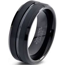 black wedding ring tungsten wedding band ring 8mm for men women comfort fit black