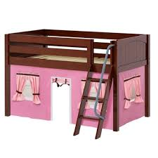 chestnut panel low loft bed with angle ladder u0026 curtains