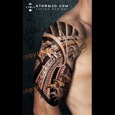 digital mockup tribal japanese design polynesian mix tattoos