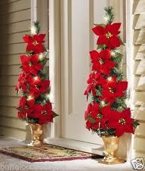 beautiful lighted flat back poinsettia tree decoration