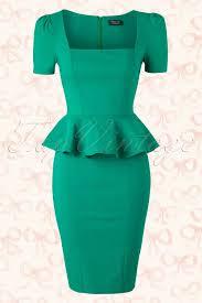 50s clarissa peplum dress in emerald green