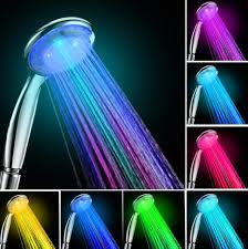 automatic 7 color 5 led changing glow light shower head water