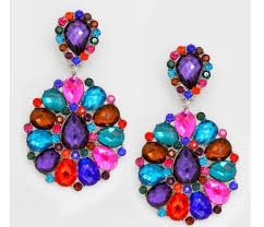 drag clip on earrings 3 big multi color rhinestone bridal earrings drag