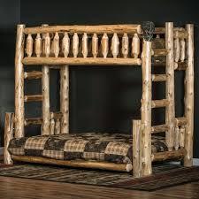 rustic wood bunk beds log cabin bed elegant guest medium tone