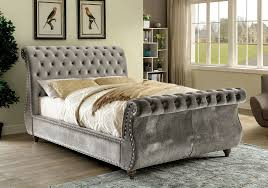 Sleigh Bed Pictures by Furniture Of America Noella Fabric Upholstered Queen Sleigh Bed In
