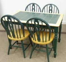 Light Wood And Green Tile Top Kitchen Table And Four Chairs - Tile top kitchen table and chairs