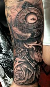 skull clock and rose sleeve tattoos photo 3 real photo