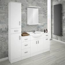 Fitted Bathroom Furniture White Gloss Cove Bathroom Furniture Pack 5 White Gloss