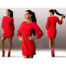 2017 new arrival casual red chiffon dress long sleve v neck lace