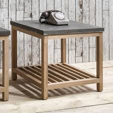 Large Side Table Hudson Living Oak Large Side Table With Concrete