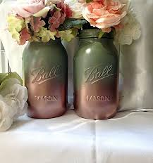 set of 2 rustic fall theme sage green and rose gold painted mason