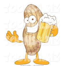 cartoon beer vector illustration of a cartoon peanut mascot holding beer by