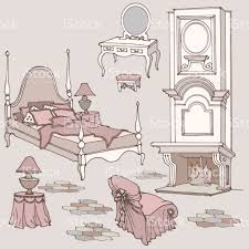 sketch of furniture for classic old bedroom with fireplace