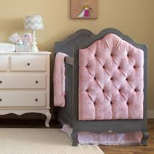 Timber Creek Convertible Crib by Newport Cottages Tufted Crib In Grey With Pink Velvet Tufted Ends