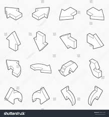 isometric outline icons 3d pictograms illustrator stock vector