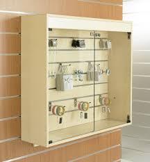 mounted slatted slatwall showcase cabinet 1m wide