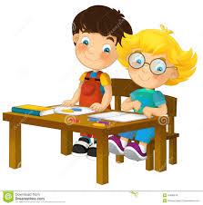 cartoon children sitting learning illustration for the