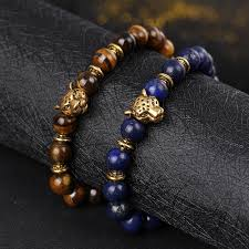 gold bead charm bracelet images 2017 fashion men 39 s leopard head stone lava gold beaded charm jpg
