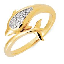 dolphin engagement ring ring with 1 20 carat tw of diamonds in 10kt yellow gold