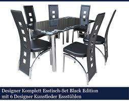 Esszimmer Glastisch Schwarz Calabaza Designer Esstisch Set Black Edition Esszimmer Set Tisch