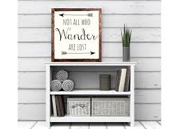 not all who wander are lost wood sign home decor rustic distressed
