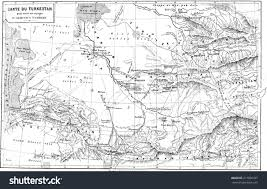 Turkestan Map Map Turkestan Vintage Engraved Illustration Le Stock Illustration