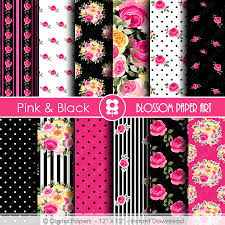 Scrapbook Paper Packs Digital Paper Black Pink Dig Scrapbook Paper Scrapbook