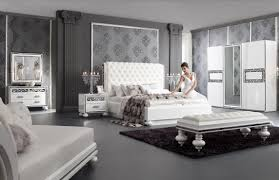 ensemble de chambre ensemble chambre adulte ultra design blanc laqué et argent à