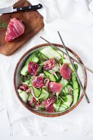 dill mustard cucumber ahi salad with pickled mustard seed dill