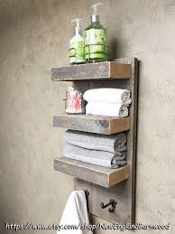 bathroom 3 tier wall shelf with towel hooks rustic bathroom