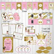 princess baby shower printable princess baby shower decorations pink gold chic