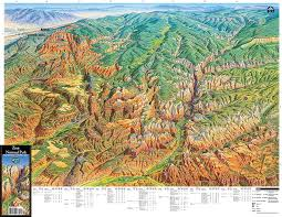 map of zion national park zion national park utah trail tracks panoramic hiking maps