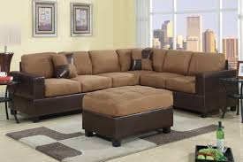 furniture brown sectional couches l shaped with brown ottoman and