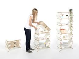 Folding Bookshelves - accordion shelves go from folded to full size in no time
