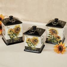 french sunflowers canister set black set of three for the home