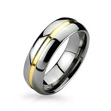 mens two tone wedding bands two tone tungsten gold groove inset wedding band ring 8mm