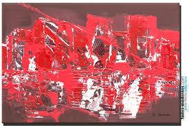 Toiles Contemporaines Design Tableau Décoration Petit Prix Marron Rouge Art Moderne Format